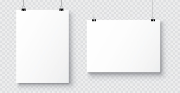 Realistic white blank a4 paper poster hanging on a rope with clip Premium Vector