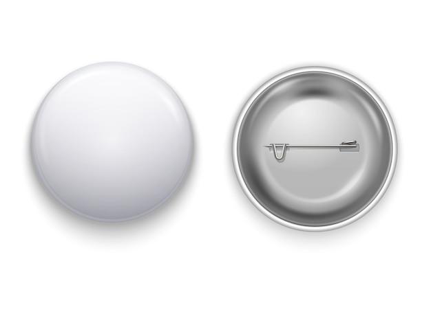 Realistic white blank  badge, vector realistic illustration