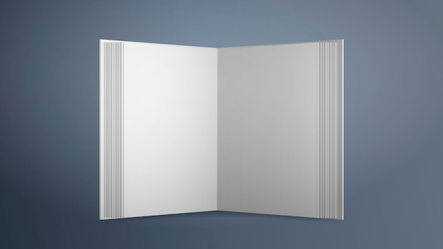 Realistic white blank book.  . open book with empty sheets on a gray background. good for advertising books.