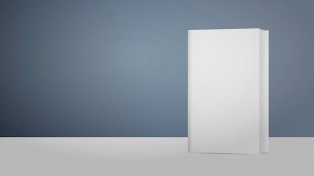 Реалистичная белая пустая книга. . книга стоит на белом деревянном столе на сером фоне. подходит для рекламы книг.