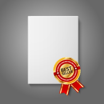 Realistic white blank hardcover book, front view with golden and red best seller label.