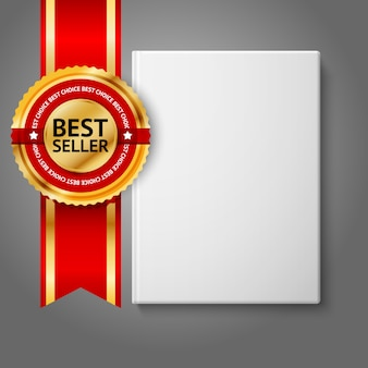 Realistic white blank hardcover book, front view with golden and red best seller label