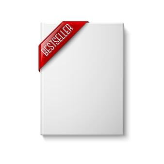 リアルな白い空白のハードカバーの本、赤いベストセラーコーナーリボン付き正面図。デザインとブランディングのために白い背景で隔離。