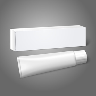 Realistic white blank paper package box with tube for oblong stuff - toothpaste, cosmetics, medicine etc.  on grey background for  and branding.