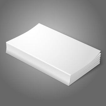 Realistic white blank softcover book