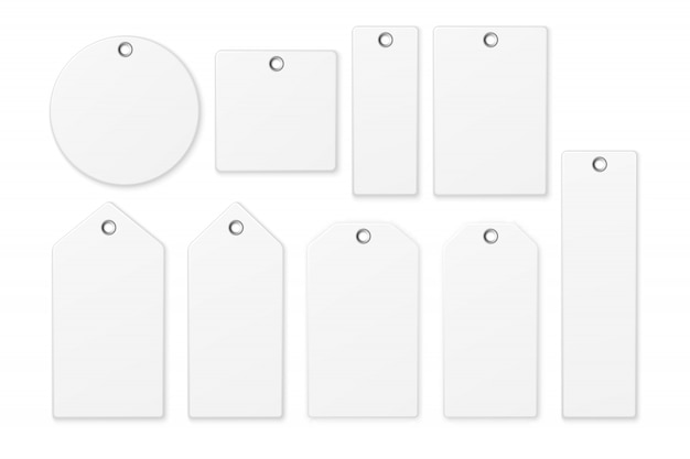 Realistic white blank tag icon set isolated on white background. template