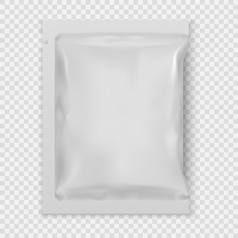 Realistic white blank template packaging foil wet wipes. Premium Vector