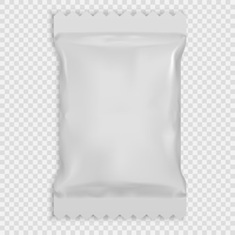 Realistic white blank template packaging foil wet wipes.