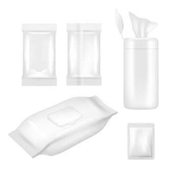 Realistic white blank wet wipes packaging set