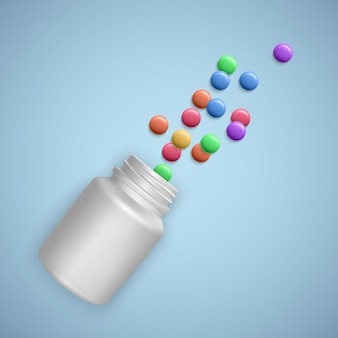 丸薬と現実的な白いボトル。カプセル、錠剤が入った医療用カプセル容器。 3dイラスト