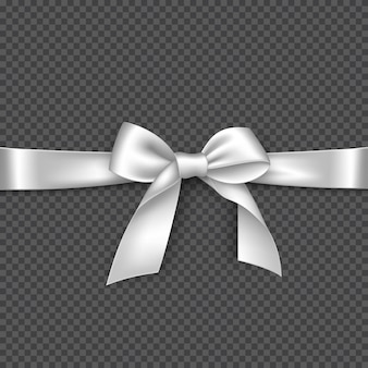 Realistic white bow and ribbon