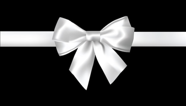 Realistic white bow on white background. vector illustration.