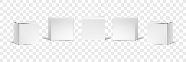 Коллекция реалистичные белые коробки