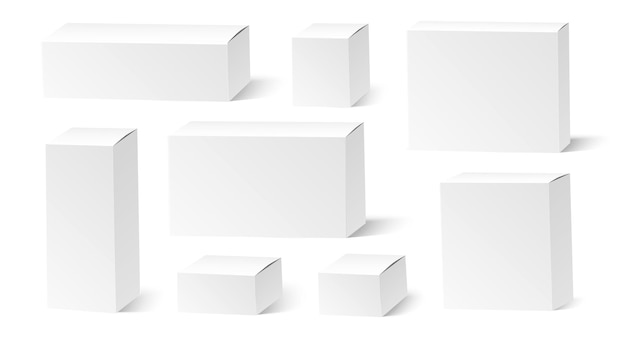 Realistic white boxes set of empty cardboard packages
