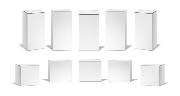 Realistic white boxes set.