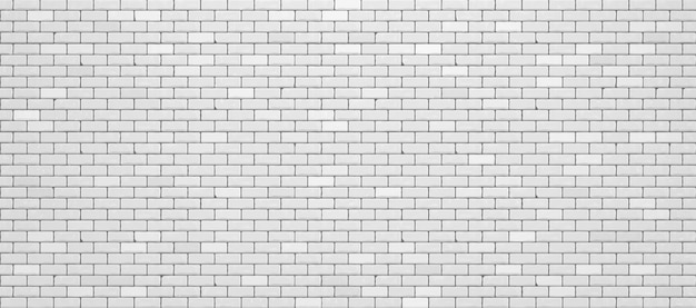 Realistic white brick wall.