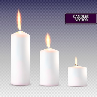 Realistic white candles set.