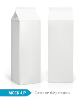 Realistic white cardboard package for dairy products, juice or milk.  packages