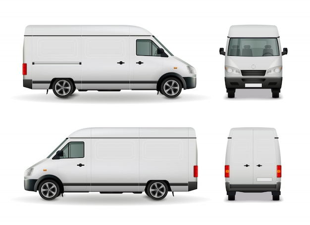 Реалистичный белый грузовой фургон
