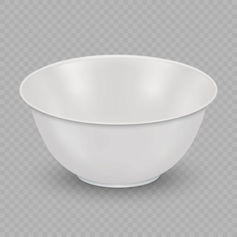 Realistic white ceramic bowl isolated on transparent background