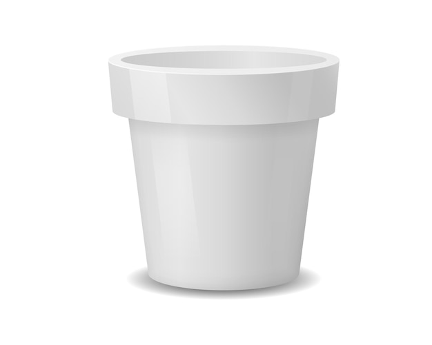 Realistic white ceramic flower pots isolated on white.