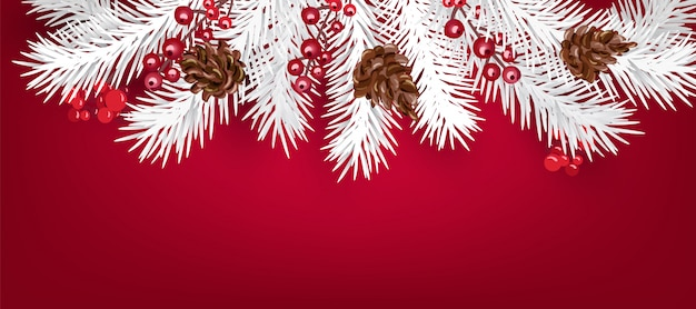 Realistic white  christmas tree and berries wreath with copyspace