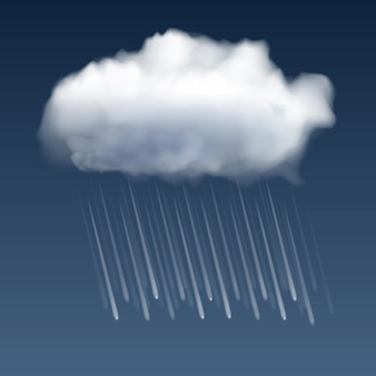 Realistic white cloud and rain drops on gray background