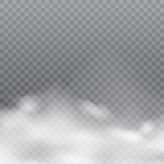 Realistic white clouds or fog on transparent background