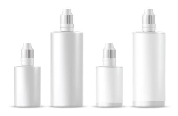 Реалистичные белые косметические бутылки. векторная иллюстрация