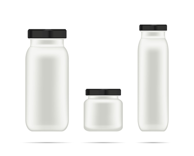 Realistic white cosmetic cream container for shampoo, lotion and cream.