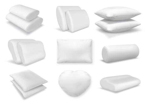 현실적인 흰색 면 정형 베개, 정사각형 및 원형 쿠션. 3d 깃털 푹신한 베개와 침대 또는 소파 벡터 세트를 위한 보강 모형. 목 휴식과 수면을 위한 편안한 요소