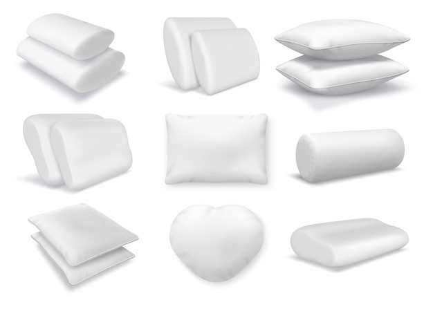 Realistic white cotton orthopedic pillows, square and round cushions. 3d feather fluffy pillow and bolster mockup for bed or sofa vector set. comfortable element for neck rest and sleeping