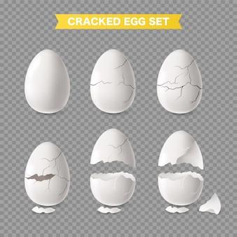 Set di uova bianche incrinate e aperte realistiche