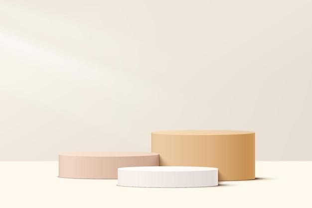 파스텔 최소 장면으로 설정된 현실적인 흰색 크림 및 베이지색 단계 3d 실린더 받침대 연단