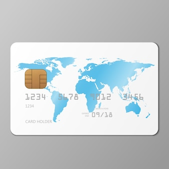 Realistic white credit card mockup template