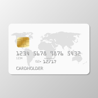 Realistic white credit card with world map. template white credit card for your design.