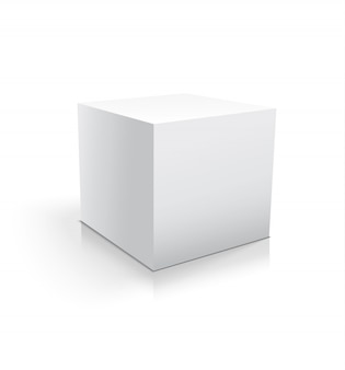 Realistic white cube or box isolated