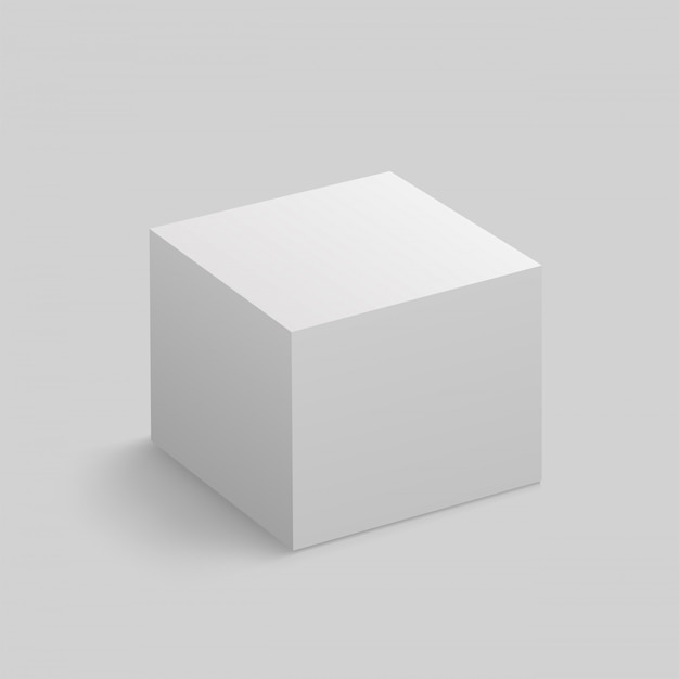 Realistic white cube with shadow