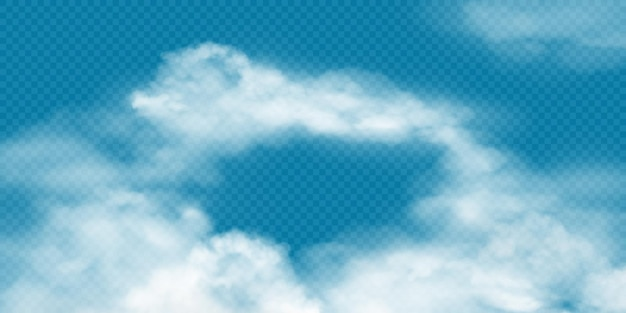 Realistic white cumulus clouds on transparent background