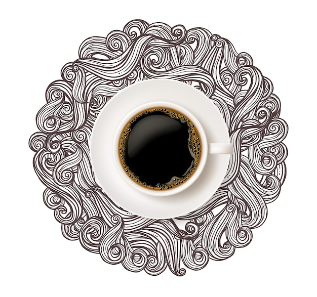 Realistic white cup of coffee top view with doodle curls and swirl on white background