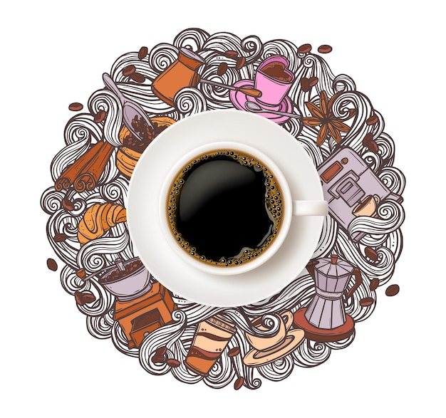 Realistic white cup of coffee top view with doodle hand drawing beans, croissant, mug of beverage and swirls in steam on white background
