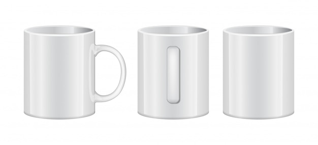 Realistic white cup empty template mockup set different views.