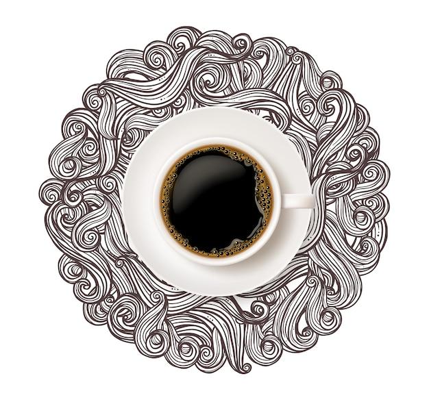 낙서 곱슬 머리와 흰색 배경에 소용돌이와 커피 평면도의 현실적인 흰색 컵