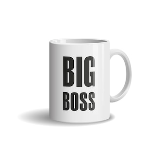 Realistic white cup on white background. big boss
