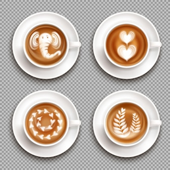 Realistic white cups with latte art images top view on transparent  isolated