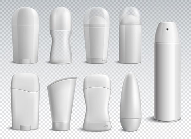 Set di bottiglie di deodorante bianco realistico di forme diverse su illustrazione isolata trasparente