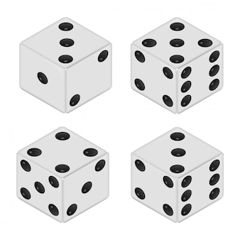 Realistic white dices isolated on white