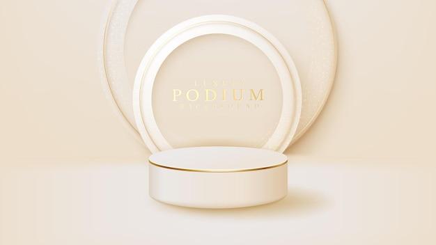 金色の円の線のシーン、プロモーションの販売とマーケティングのための製品を示す表彰台を備えたリアルな白いディスプレイスタンド。豪華なスタイルの背景。 3dベクトルイラスト。
