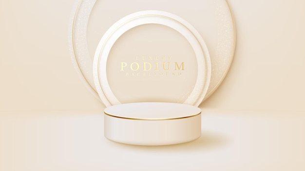 Realistic white display stand with golden circle lines scene, podium showing product for promotion sales and marketing. luxury style background. 3d vector illustration.