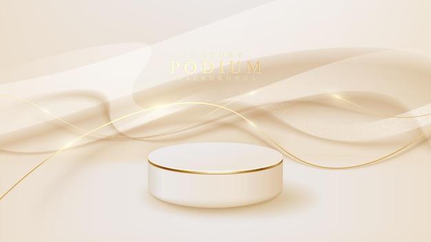 金色の曲線のシーン、プロモーションの販売とマーケティングのための製品を示す表彰台を備えたリアルな白いディスプレイスタンド。豪華なスタイルの背景。 3dベクトルイラスト。